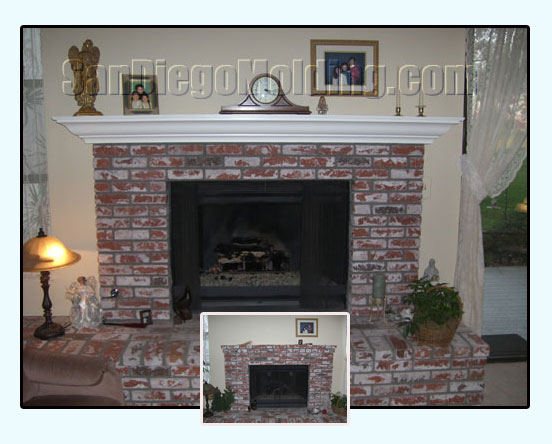 fireplace mantle before and after